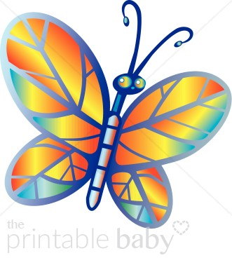 Rainbow colored butterfly. Bug clipart printable