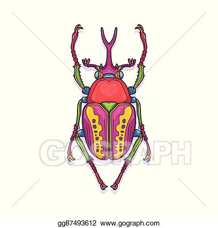 Vector art colorful insect. Bug clipart scarab beetle
