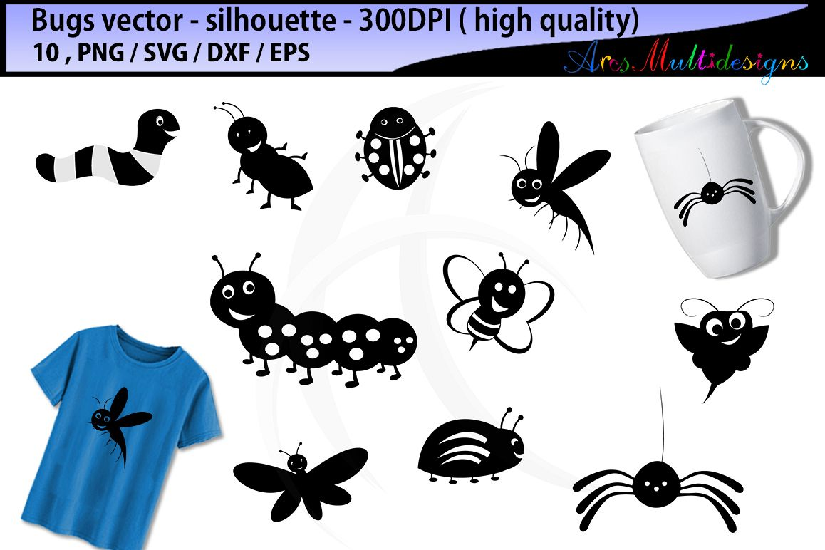 Bug clipart silhouette. Bugs svg insects design