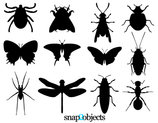Free insect silhouettes vector. Bug clipart silhouette