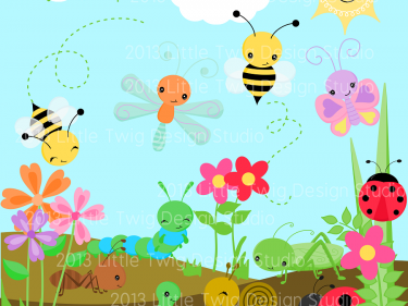 Garden bug friends digital. Insect clipart spring