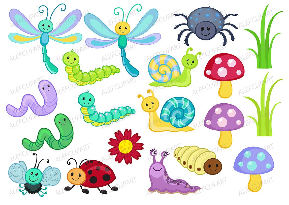 7 clipart bug. Bugs happy coloring set