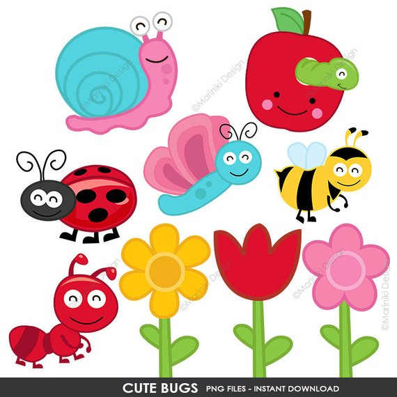 Cute bugs clip art. Clipart flowers insect