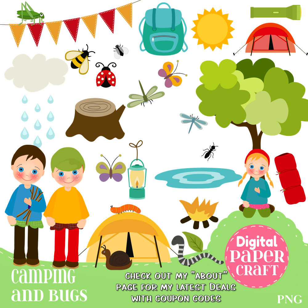 Camping children kids this. Bug clipart summer