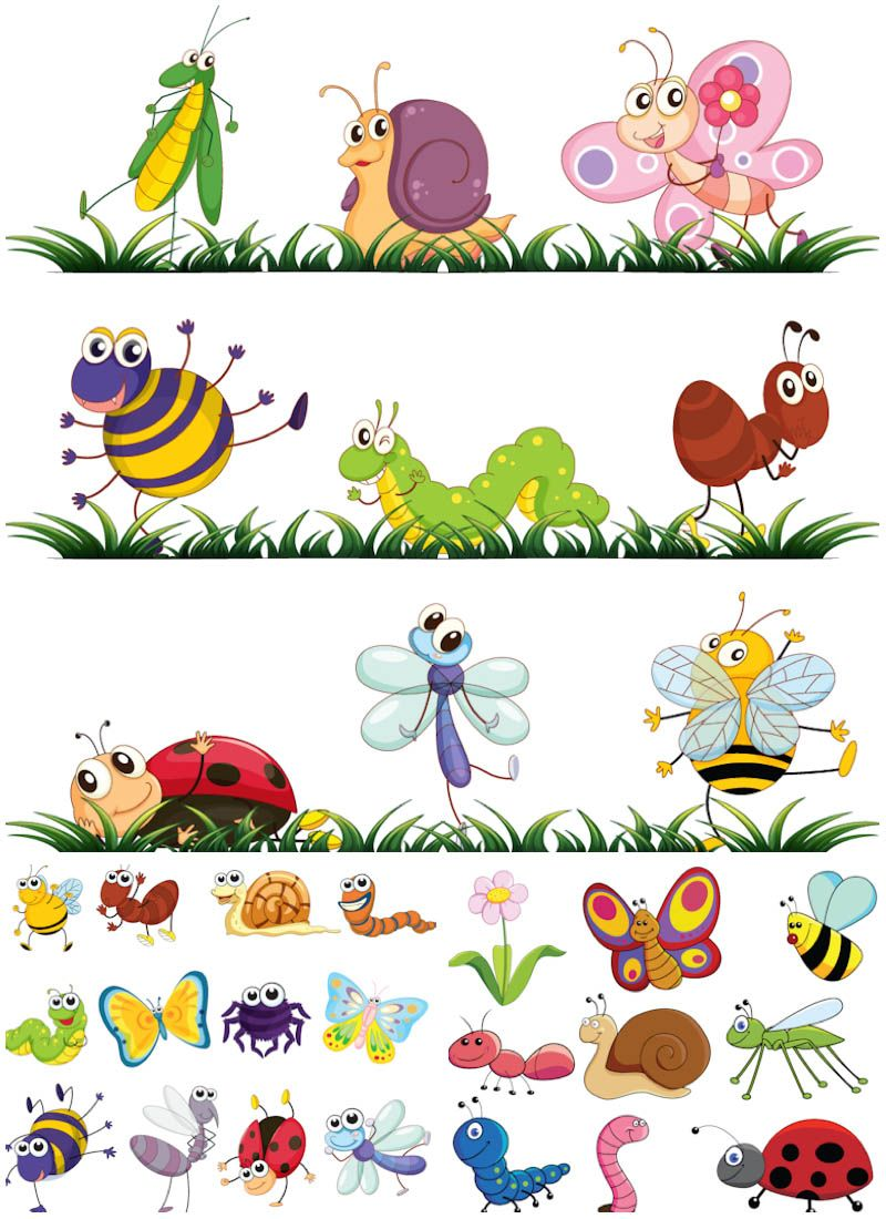 Cartoon clipart insect. Insects vector graphics blog