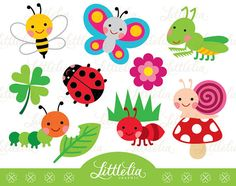 Cute clip art insects. Bugs clipart