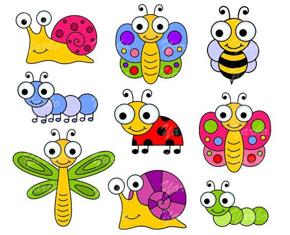 Cute bugs clip art. Insects clipart