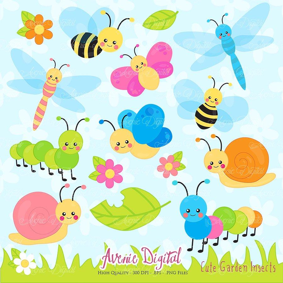 Bugs clipart. Cute garden illustrations creative