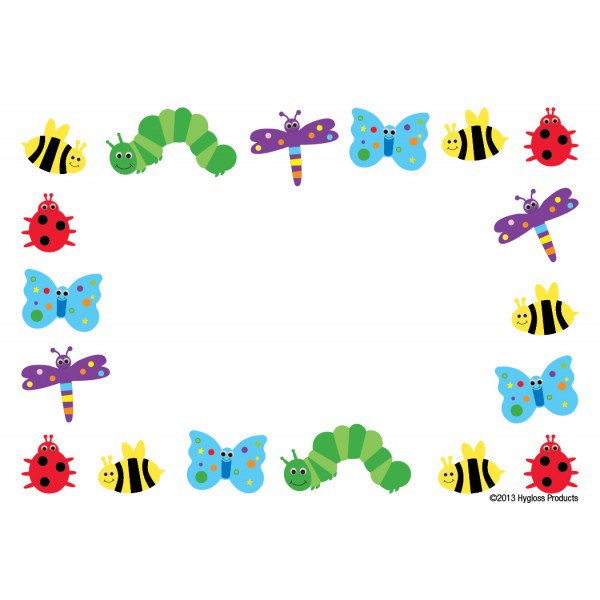 Bugs clipart border. Cute and colorful bug