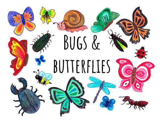 Bugs and clip art. Butterflies clipart doodle