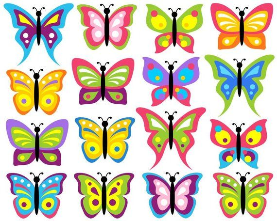 Colorful butterflies clip art. Bugs clipart butterfly