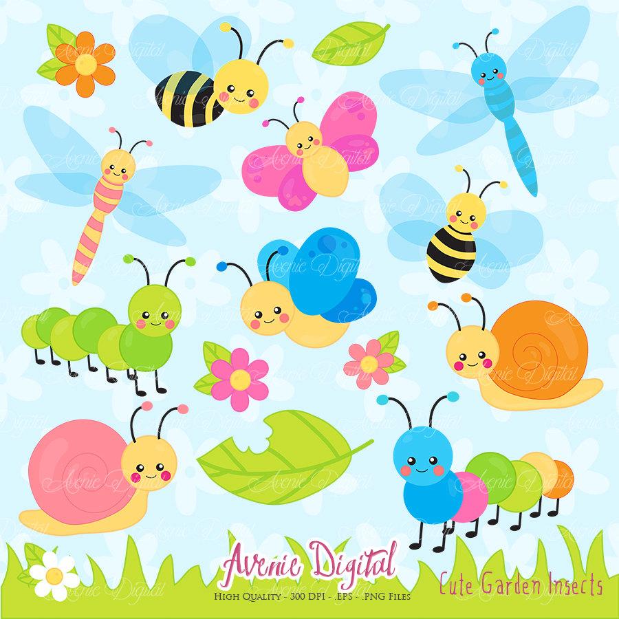 Bugs clipart clip art. Cute garden scrapbook printable