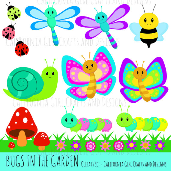 Bugs in the set. Dragonfly clipart garden insect