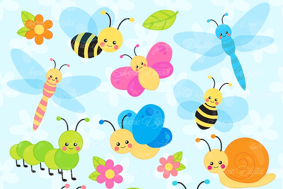 Dragonfly clipart garden insect. Cute bugs