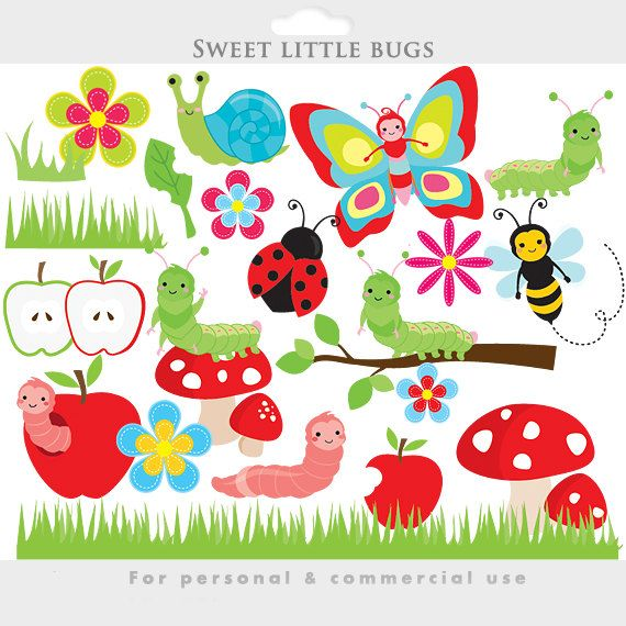 Clipart flowers insect. Cute bugs clip art
