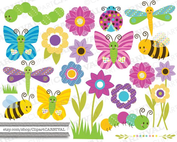 Instant download digital clip. Clipart flowers insect