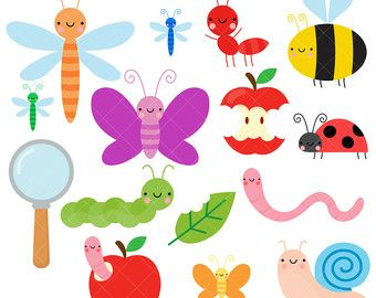 Bugs and digital paper. Insects clipart happy
