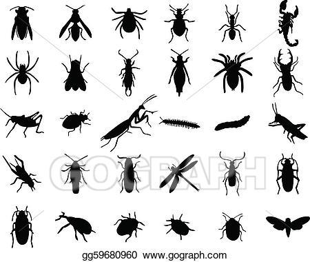 Bug clipart silhouette. Vector stock bugs illustration