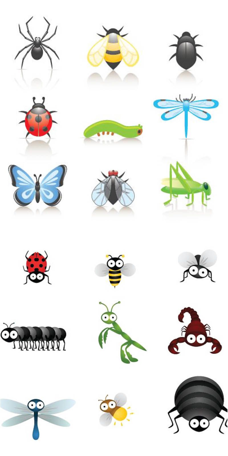 Insects clipart face. Cartoon bugs clip art