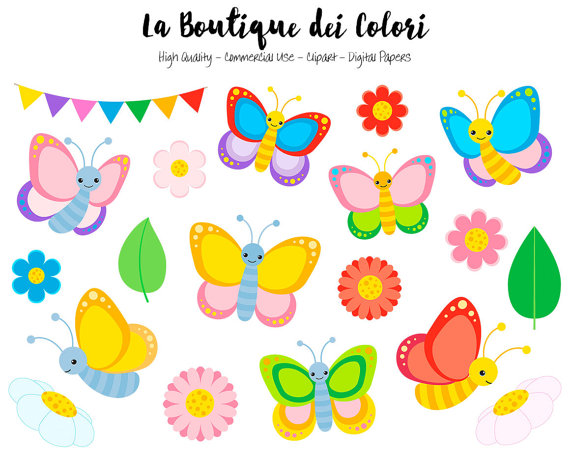 Colorful graphics png spring. Butterfly clipart cute