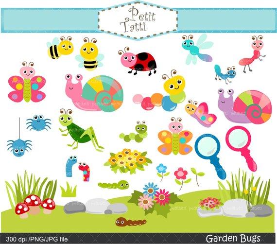 Garden bugs clip art. Insects clipart summer