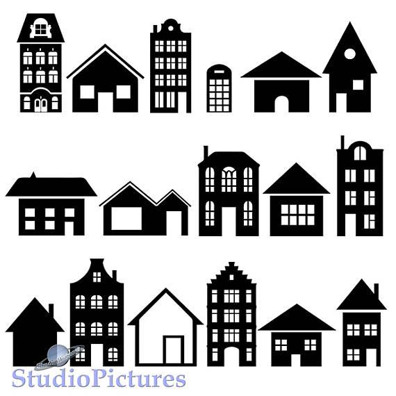 Building clipart. House cricut stencils svg