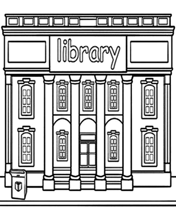Building clipart black and white. Cool of library letter