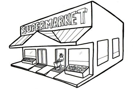 Supermarket letters station with. Building clipart black and white