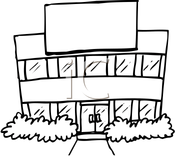 School panda free images. Building clipart black and white