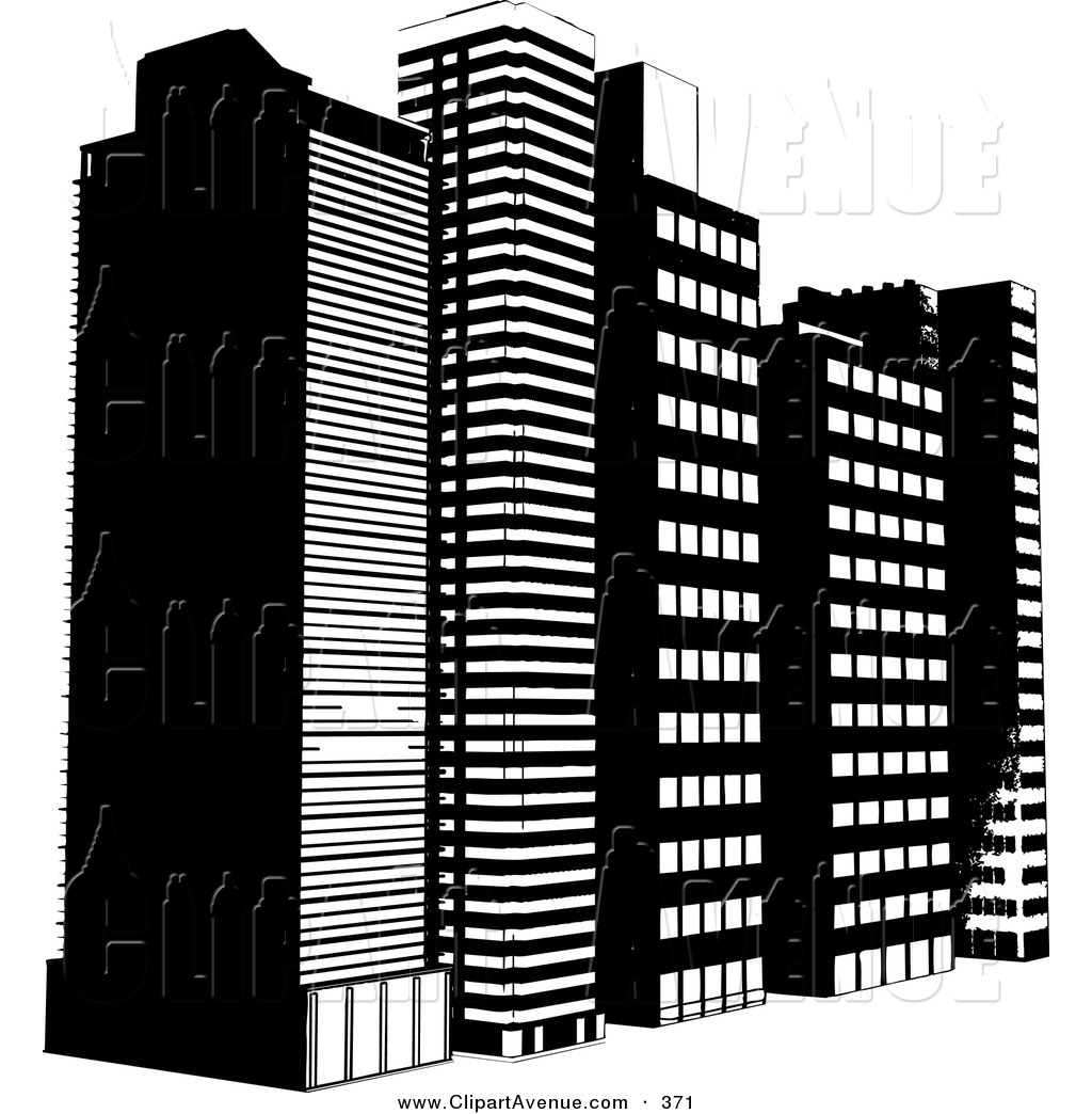 Tall building . Buildings clipart black and white