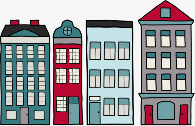 Painted city skyscrapers png. Building clipart cartoon
