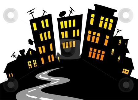 City skyline stock vector. Building clipart cartoon