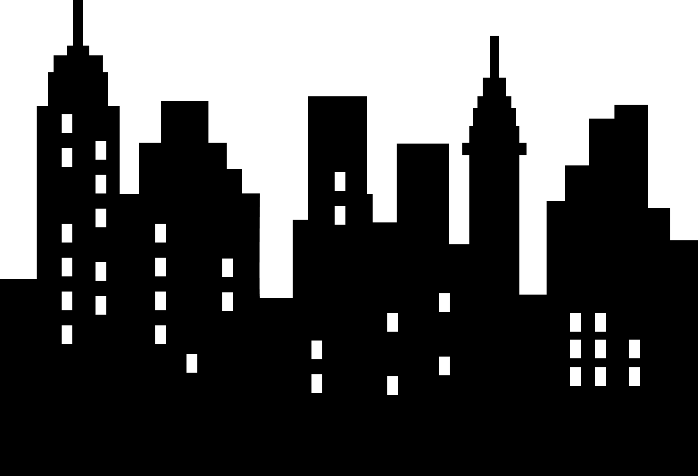 City building and white. Black clipart skyline