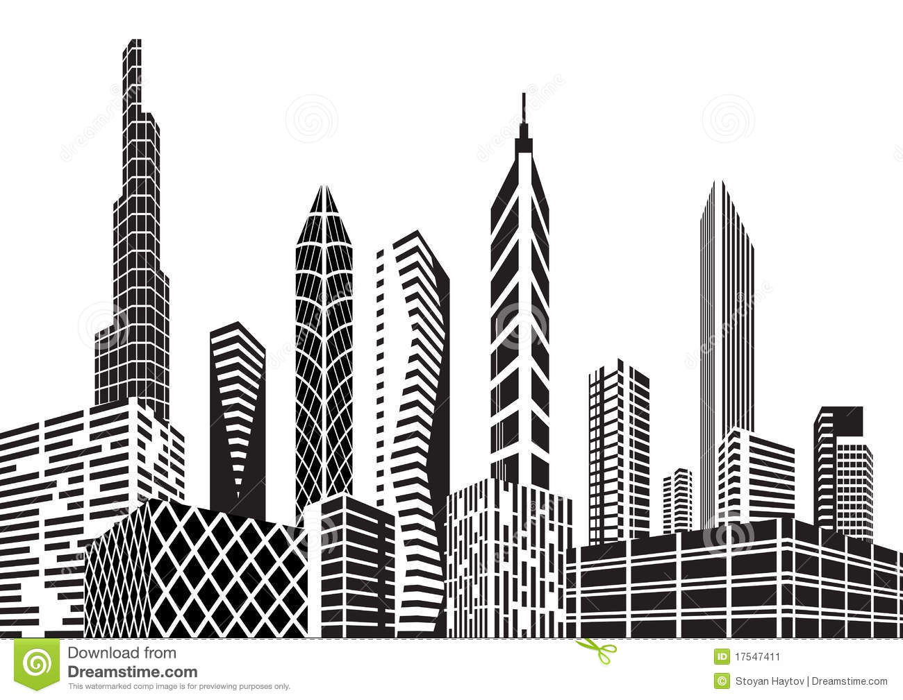 High Rise Buildings With Black And White Lines, Silhouette, Paper Cut, City  PNG and Vector with Transparent Background for Free Download