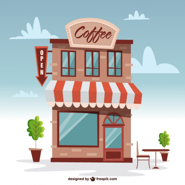 Building portal . Buildings clipart coffee shop