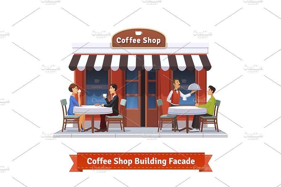 Building facade . Buildings clipart coffee shop