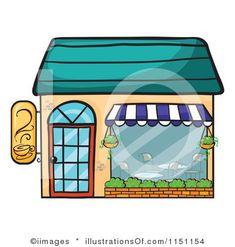Cafe clipart small restaurant. Shops buildings shop building