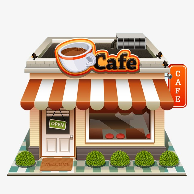 Business perspective building cafe. Buildings clipart coffee shop