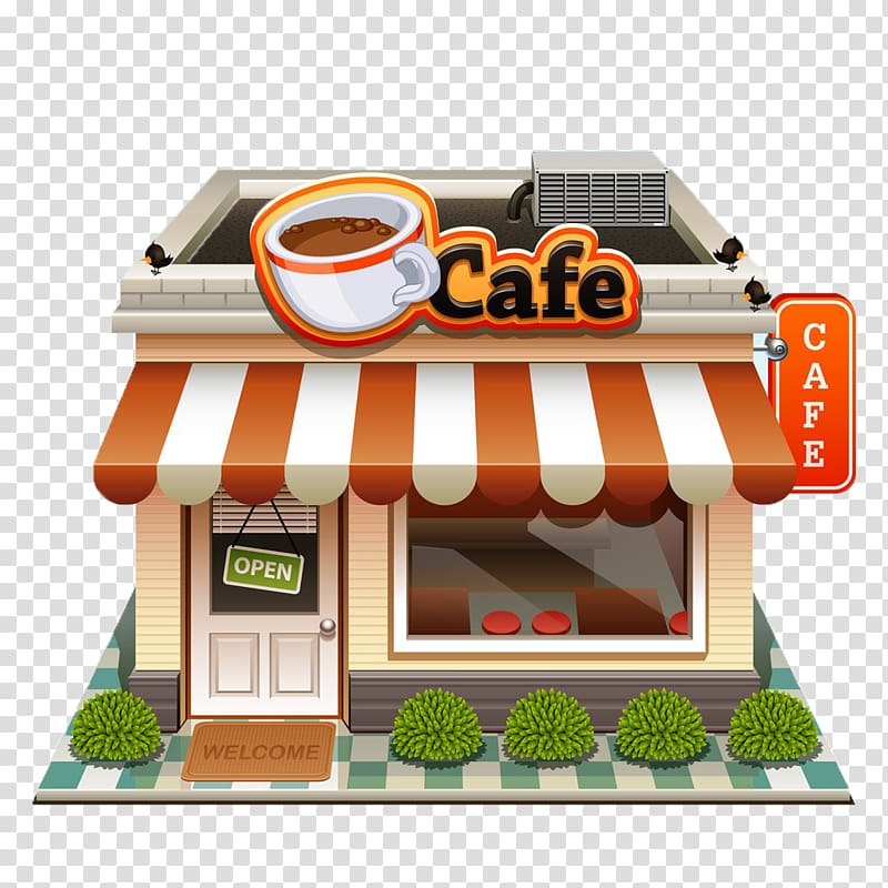 Buildings clipart coffee shop. White and red cafe