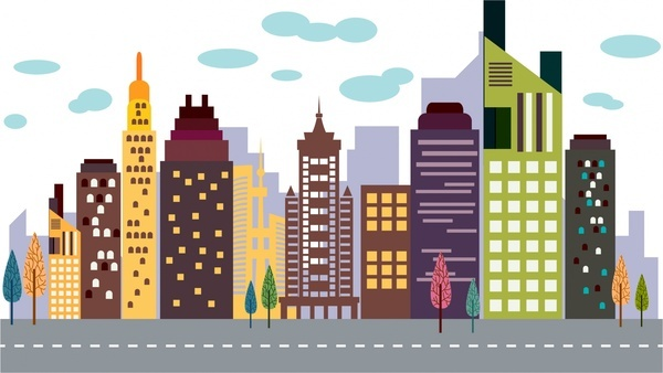 Cityscape clipart. City building colored clipartuse