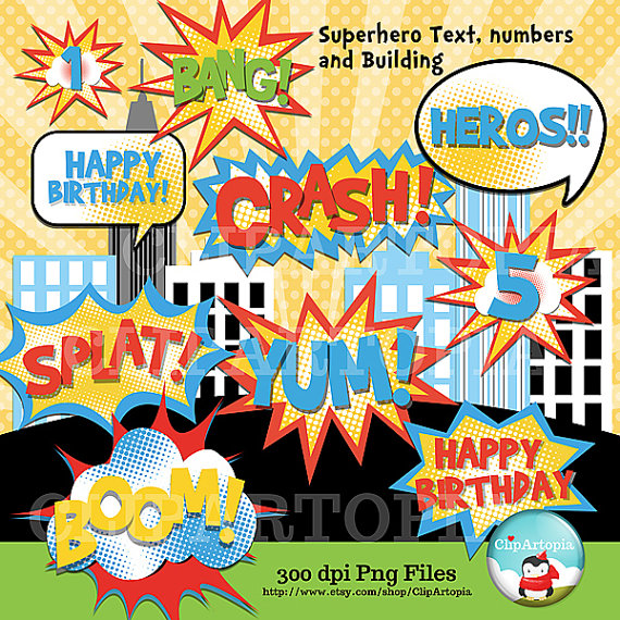 Superhero text number and. Building clipart comic book