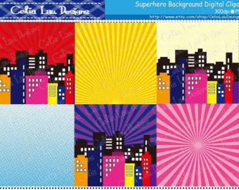 Building clipart comic book. Superhero background etsy digital