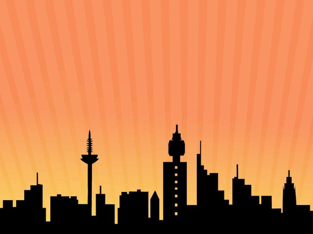 Cityscape silhouette skyline . Buildings clipart comic book