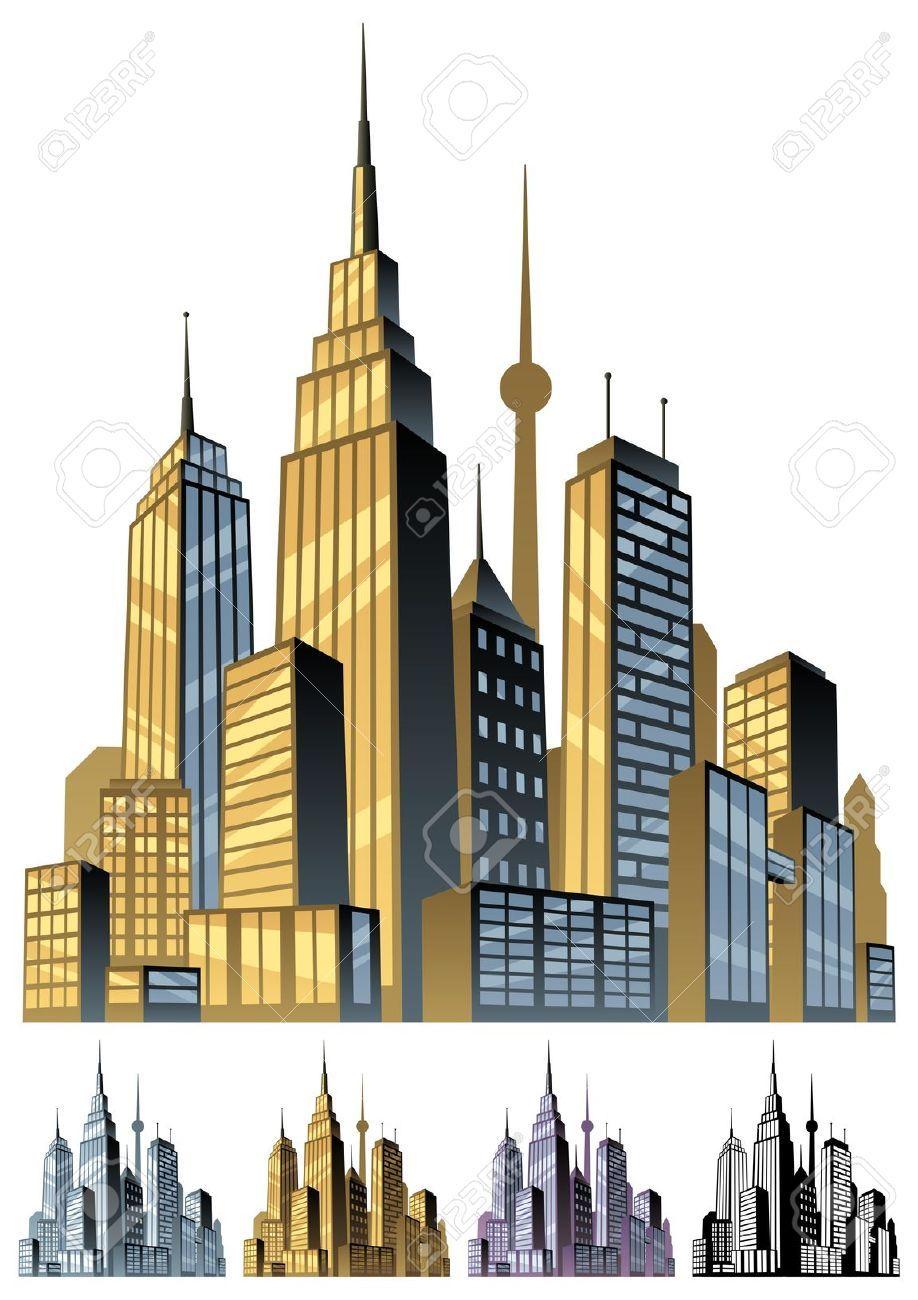 Scene city in color. Building clipart comic book