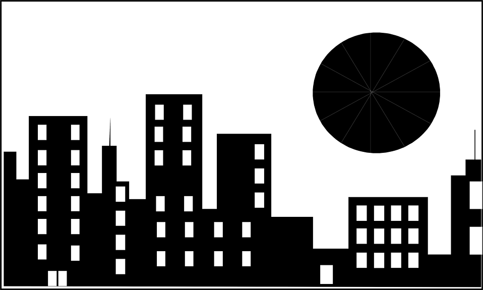 Building clipart comic book. City black and white
