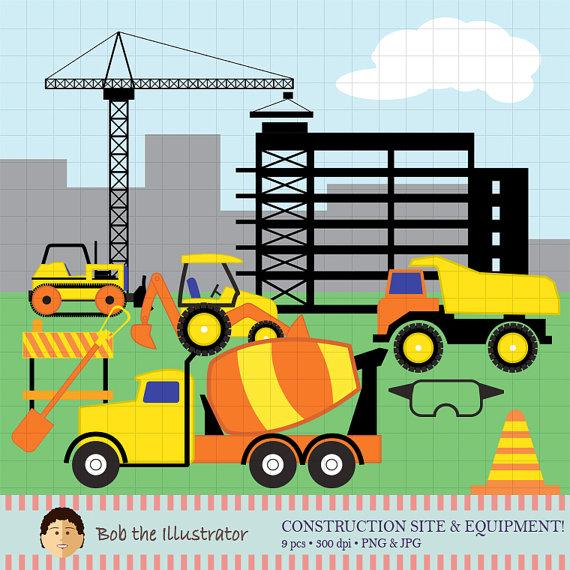 Building clipart construction. Site digital clip art