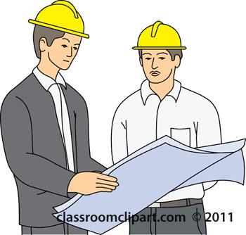 Occupation men reading plans. Building clipart construction