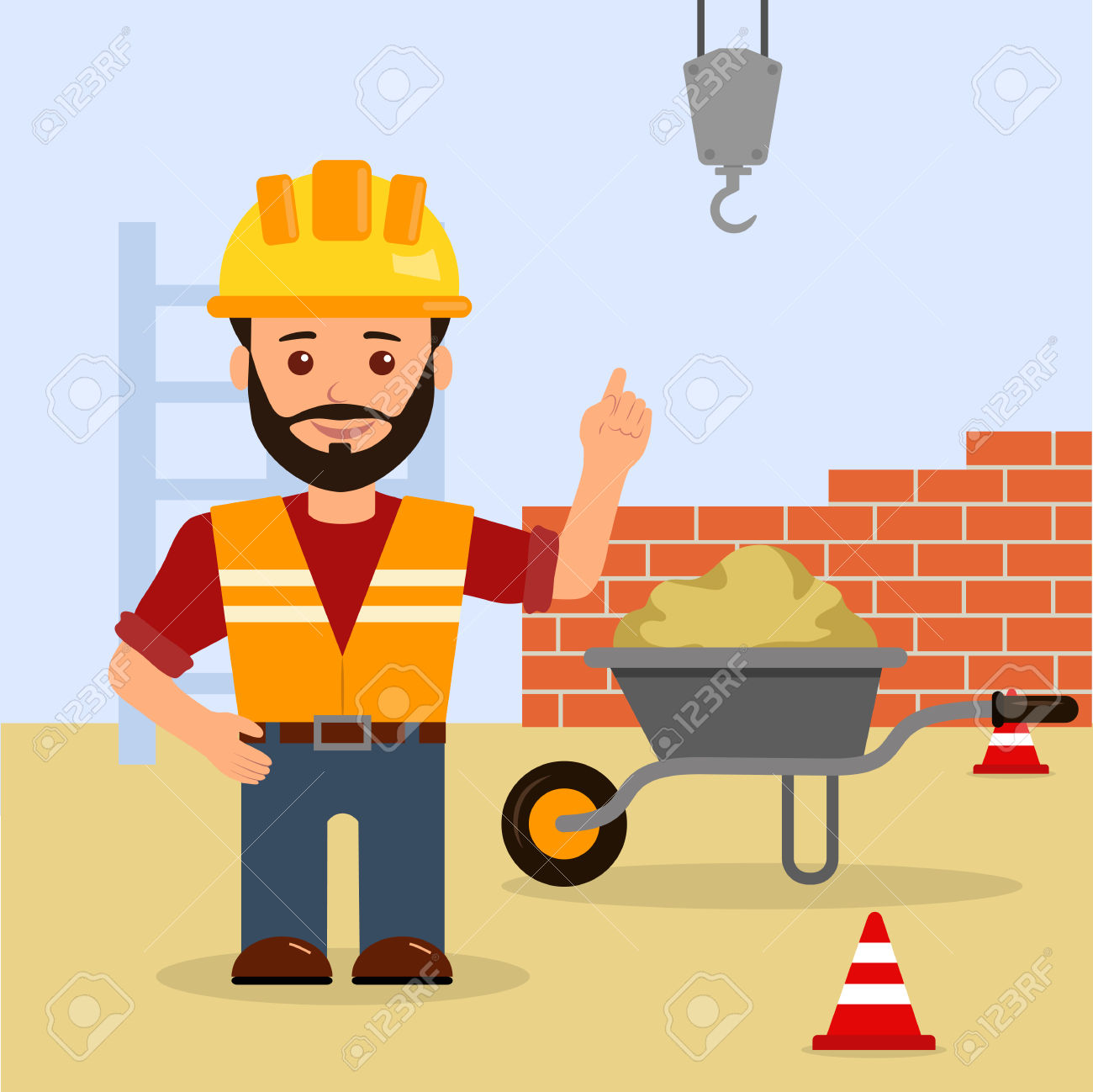 Male foreman at a. Building clipart construction