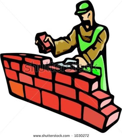 A brick wall clip. Building clipart construction
