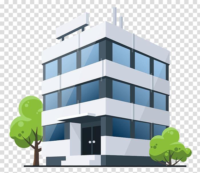 Building clipart corporate building. White and blue concrete